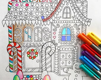 Holiday Gingerbread house coloring page