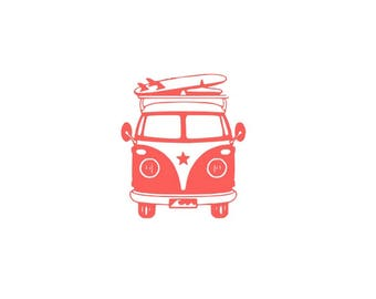 Surfing Van Decal, Surfer Decal, Surfing Decal, Hippie Van Decal, Surfboard Decal, Beach Bum Decal, Hippie Car Decal, Surfing Sticker
