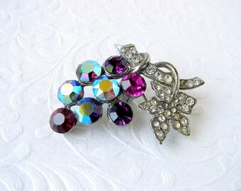1950s Fruit Salad Rhinestone Brooch Costume Jewelry Pin Purple Amethyst Silver Tone Grapes Design Purple Grape Fuchsia Rhinestones REPAIRED