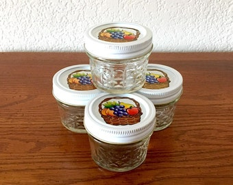 Set of 4 Ball Quilted Crystal Jelly Jars / 4 ounce Canning Jars / Jam and Jelly Jars / Quilted Jelly Jars, White Bands and Decorative Lids