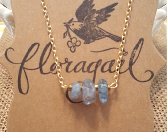 blue crystal stone, 18K gold filled necklace, 20 inch necklace, minimalist, gift, top seller, top selling jewelry