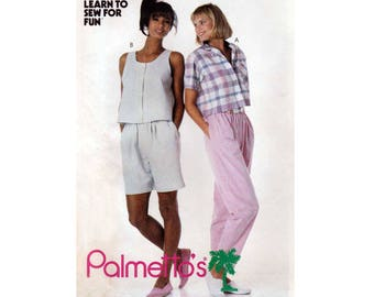 Palmetto's Crop Tops, Elastic Waist Pants and Shorts, Women's Sewing Pattern Misses Size Small 10-12 Uncut McCall's 3595