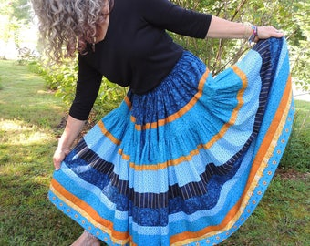 Two Tiered, Full Circle, Bohemian Maxi Patchwork Skirt