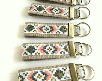 Aztec Tribal KEY FOB Wristlet- Wrist Keychain for Her- Key Lanyard for Women- Wristlet Key Chain- Gift for Her- Gift for Women Under 10