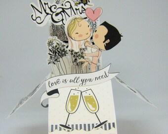 Cute Wedding Pop Up Box Card - Card in a Box