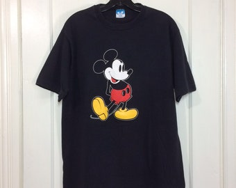 Vintage 1980's Mickey Mouse black all cotton T-shirt size XL 21x27 Disney Character Fashions made in USA