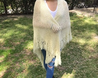 Large knit shawl,pale yellow,fringed wrap