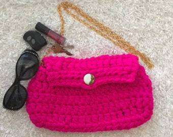 Hot Pink Crochet Purse with Fabric Lining, Zippered Lining, Vinage Button, and Gold Chain Shoulder Strap