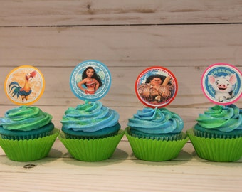 Moana cupcake toppers - 12