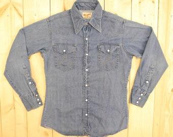 Vintage 1950's/60's WRANGLER Denim Shirt / Sanforized / Retro Collectable Rare