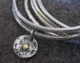 Bindu Bracelet....Sterling Silver Bangle with Sterling and Gold Bindu Tag
