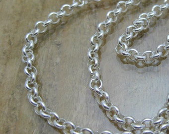 Sterling Silver 4mm Rolo Chain Choose Your Length 16 to 60 Inches or 41cm to 152cm Perfect for Charms