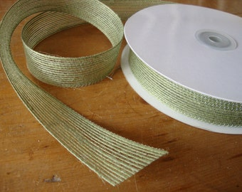 """burlap ribbon green fabric trim 1"""" wide craft supplies party gift wrap embellishments package ties sewing crafting hat making kids crafts"""