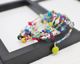 Beaded Wrap Bracelet, Multicolor Bracelet, Boho Bracelet, Beaded Bracelet, Wrap Bracelet, Colorful Bracelet, Hippie Bracelet, Memory Wire