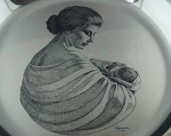 STERLING SILVER Plate Vintage Franklin Mint Sterling Silver Irene Spenser 1972 Mother and Child Plate 6335