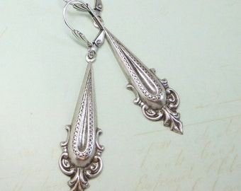 Bohemian Earrings Long Ear Dangles Sterling Silver Art Deco Earrings