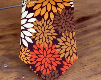 Mens Necktie - Thanksgiving Fall Floral on Woven Cotton neck tie, Pre-tied, Traditional Self-Tying necktie for men and boys, autumn necktie