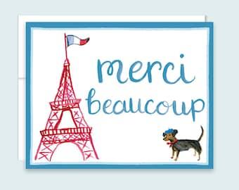 Paris Thank You Card, Merci Beaucoup Thank You Card, Merci Card, Eiffel Tower Thank You Card, Dachshund Thank You Card, Merci Card, French