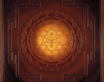 Golden Sri Yantra Mandala-  archival print on photo paper
