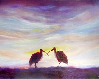 Birds Original Oil Painting Canvas Ready to Hang