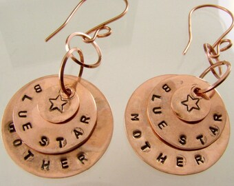 Hand Stamped Blue Star Mother Copper Disk Earrings, Military Jewelry