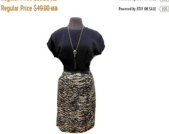 Storewide Sale STOREWIDE CLEARANCE Vintage 50s 60s Sheath Dress Abstract Black Gold String Print Bow Cap Sleeve Office Mad Men Secretary Par