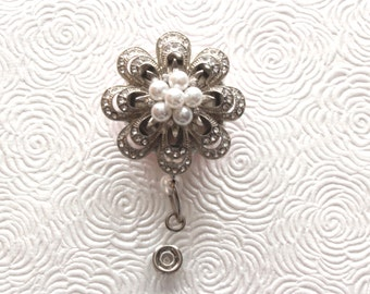 Silver Layered Flower with Clear Gems and Pearl Center Brooch ID Badge Reel/Nurse/Doctor/Medical/Teacher/School/Office/Brooch/Jewelry