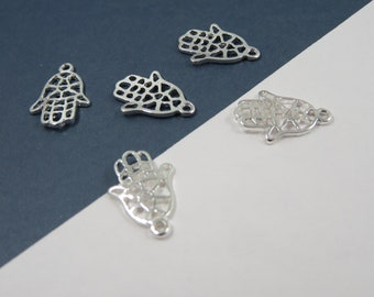set of 3 charm symbol Hamsa talisman protection silver stainless steel (W86) India