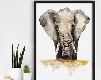 African Elephant Watercolor, Aquarel Painting, Nature Art Painting, Aquarel Print, Elephant Art, African Art, African Animal Print