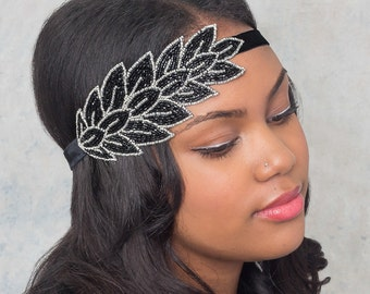 Flapper Headband Beaded Bandeau Silver And Black Leaves