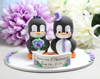 Unique wedding cake topper Penguins + base - stand bride groom cake toppers wedding black white purple elegant cute decorations personalized