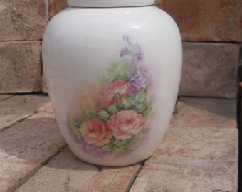 White Ceramic Cremaiton Urn with Roses on the side,urn, Jar with lid,Small urn, Small jar, art pottery, handmade
