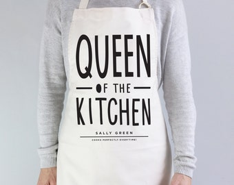 Queen of The Kitchen Apron - personalised apron - baking gift - personalised baking apron - personalised kitchen gift - gift for her