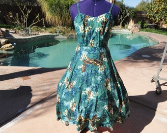 """Vintage 1950s 50s dress sundress tropical tikis palm trees sequins fitted full rare 36-37"""" bust 30"""" waist"""