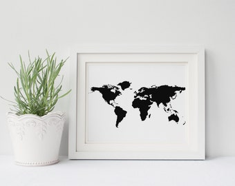 PRINTABLE Art Black and White Map Print Black and White Travel Print Map Print Home Decor Dorm Decor Apartment Decor