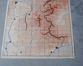 The Pyrenees Nightingale and Alps vintage school map