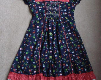 VINTAGE GIRLS DRESS floral and polka dot navy red 4 70's 80's