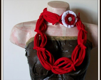 All Wrapped Up Red Infinity Looped T shirt Jersey Scarf