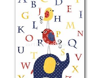 Navy Blue Red Yellow Digital Alphabet Nursery Alphabet Elephant Nursery Wall Art Baby Boy Nursery Art Playroom Print INSTANT DOWNLOAD 8X10