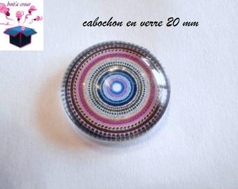 1 cabochon clear domed 20mm rose theme