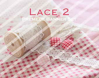 """Banner Set - Shop banner set - Premade Banner Set - Graphic Banners - Facebook Cover - Avatars - Bisiness Card - """" Lace 2"""""""