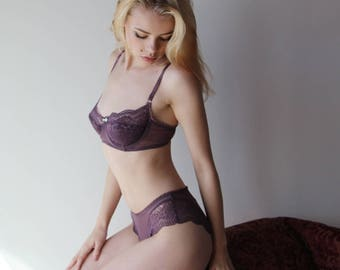 underwire bra with padding in mesh and lace - womens lingerie range - ROMANTIC - made to order