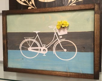 Engraved Art bike bicycle, Hand painted, Rustic Wood Sign, Custom Distressed Sign, Home Wall Decor