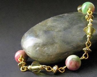 Rainbow Jade Bracelet. Gemstone Bracelet. Gold Bracelet in Pink and Green. Summer Carnival Handmade Bracelet.