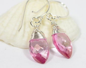 Handmade Earrings Wire Wrapped on Sterling Silver Pink Topaz Earrings Birthstone Earrings