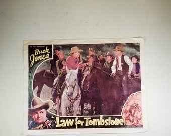 Copy of a Vintage Western Movie Theater Lobby Card Law for Tombstone 1937 11x14 Buck Jones
