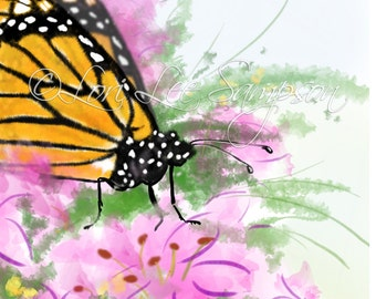 Monarch Butterfly in Summer Garden of Pink Flowers | Nature Art | Butterfly Clipart or Small Print| Digital Download (0177b0v)