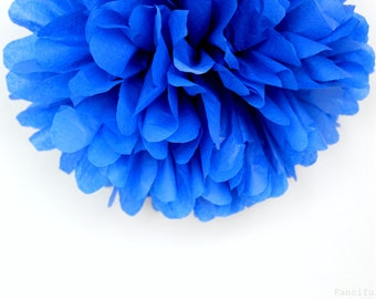 Blue Tissue Paper Pom Poms- Wedding, Birthday, Bridal Shower, Baby Shower, Party Decorations, Garden Party