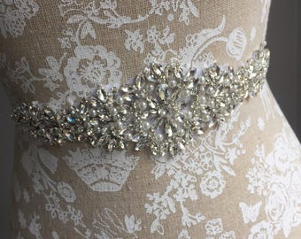 Catherine | Silver pearl and crystal bridal sash - Bridal Belt, Wedding Sash, Wedding Dress Sash, Wedding Dress Belt, uk bridal sash