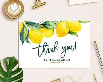 Lemon Thank You Card, Botanical Thank You Card, Printable Thank You Card